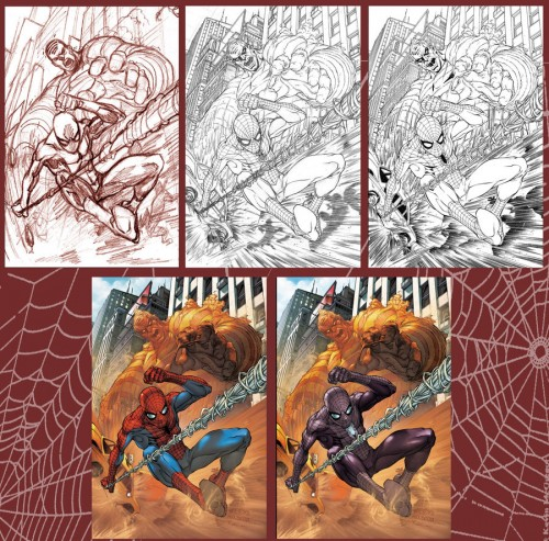 Spidey Cover  step by step by diablo2003 500x493 Inking 101   Spidey Cover